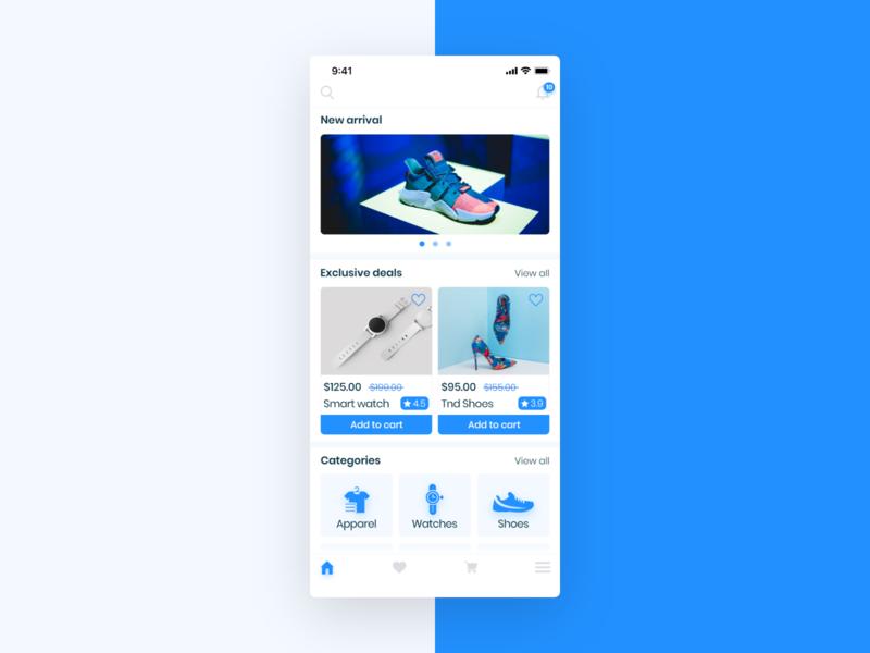 E - commerce app , Home screen. clean design sign up sign in ui ux design home all categories menu categories store shopping app ecommerce app ecommerce adobexd