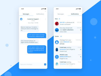 E-Commerce App  (Notifications And Message Screen)