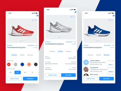 E-commerce app (product, details, reviews screens)