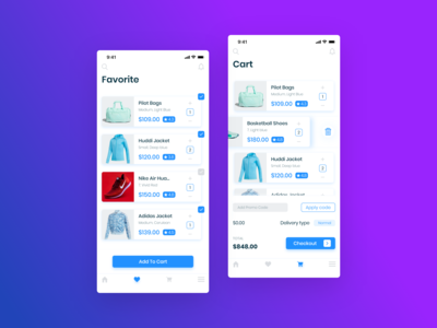 E-Commerce App  (Favorite And Cart Screens)