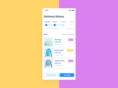 E-Commerce App  (Delivery Status screen)