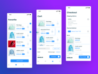 E-commerce app (favourite, cart and checkout screen)