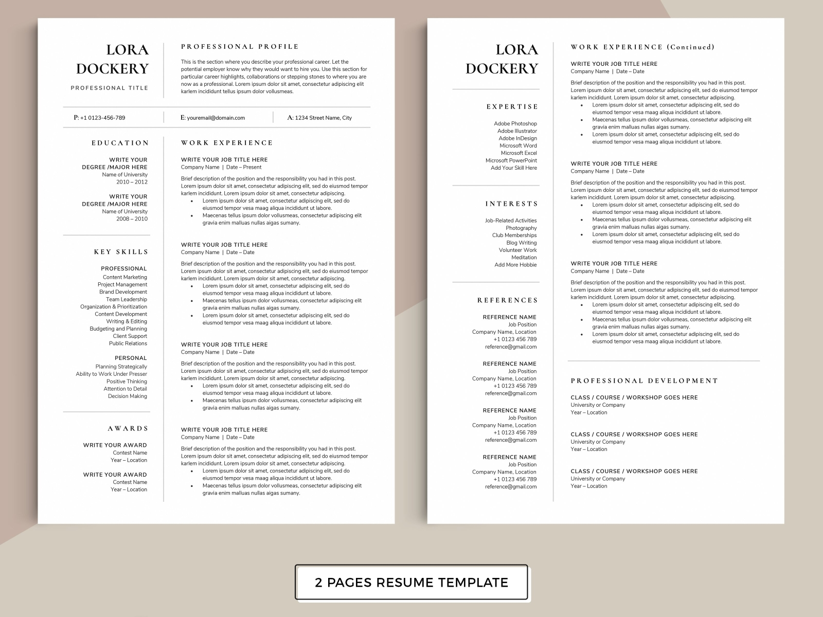 Resume Cv Template Lora By Resume Templates On Dribbble