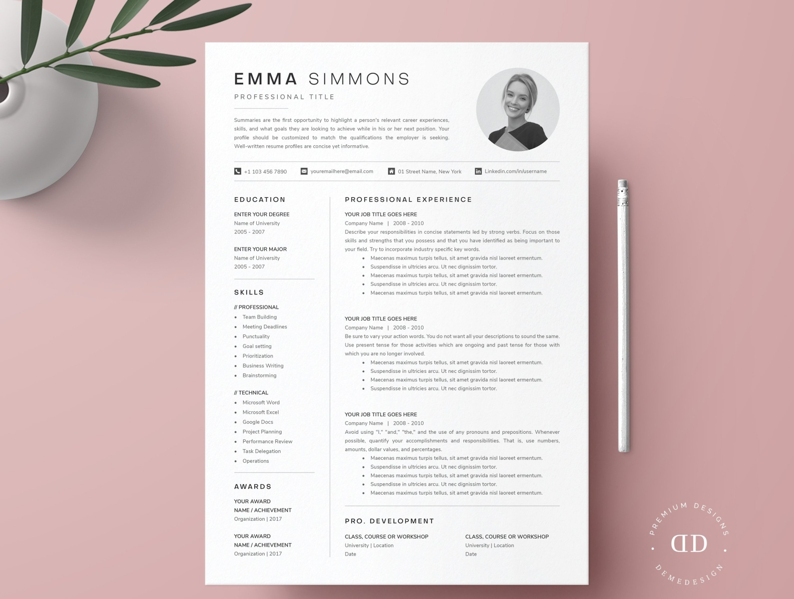 Single Page Resume Template from cdn.dribbble.com
