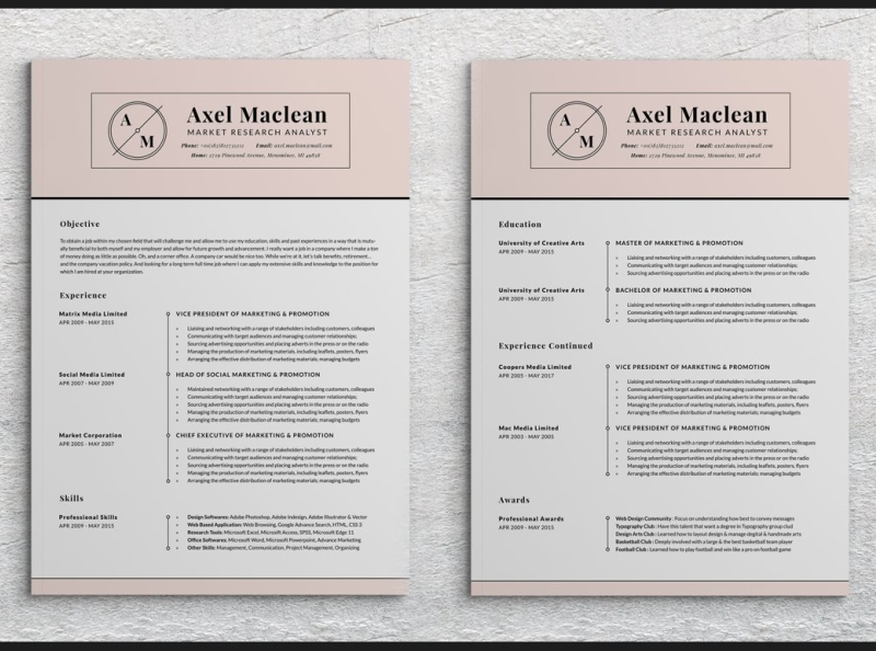 Transitional Two Pages Resume Pack By Resume Templates On Dribbble