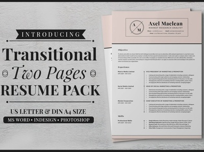 Transitional Two Pages Resume Pack