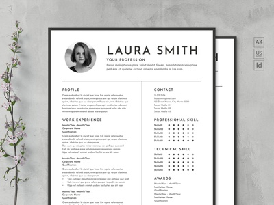 Monochrome Clean Resume free download clean resume professional modern curriculum vitae resume cv template creative resume modern resume resume template monochrom monochrome