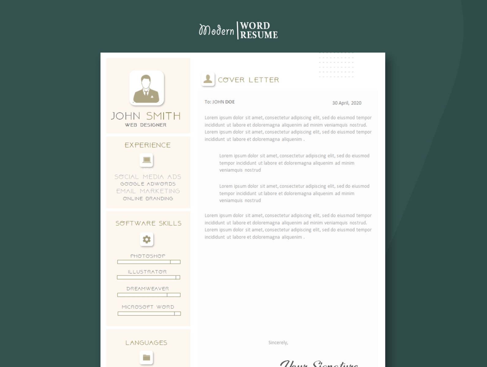 One Page Resume Template Cv Template For Ms Word By Resume