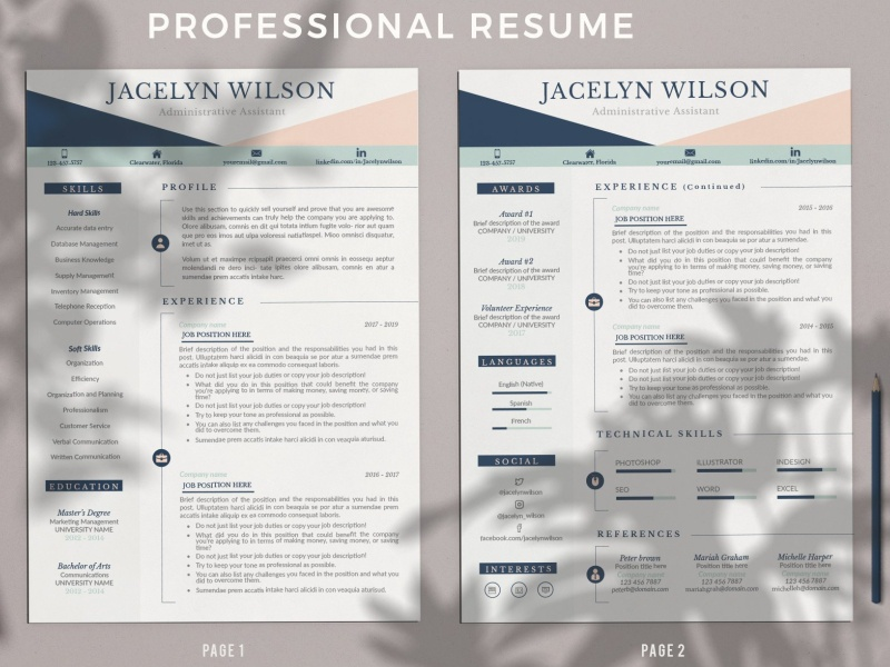 Creative Resume Example Cv Cover L By Resume Templates On Dribbble