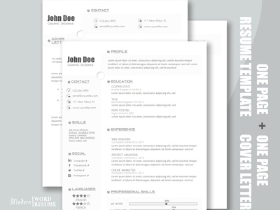 One Page Resume Template build in Microsoft Word one page word microsoft templates pages one curriculum vitae template clean resume creative resume professional modern resume cv template modern resume resume template