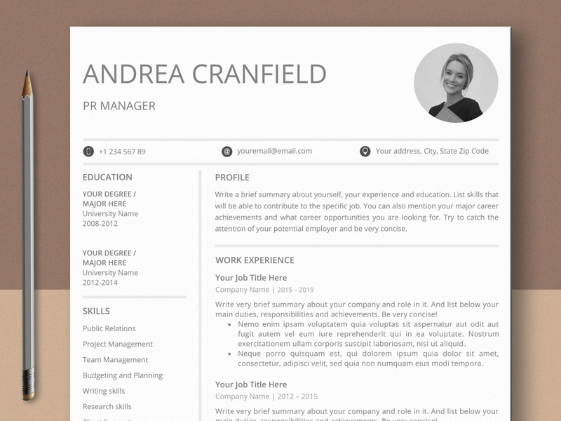 Clean Professional Resume Template with Photo free download professional logo clean curriculum vitae template clean resume creative resume professional modern resume cv template modern resume resume template