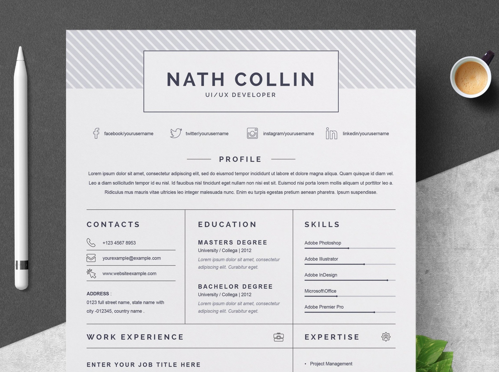 1 Page Resume Template from cdn.dribbble.com