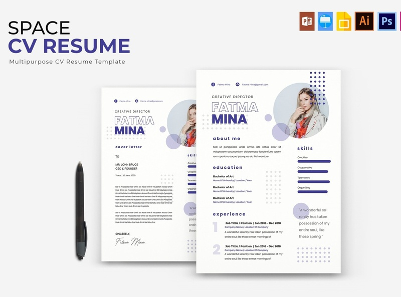 Space | CV & Resume download mockup free download curriculum vitae clean resume creative resume professional modern template resume cv template modern resume resume template
