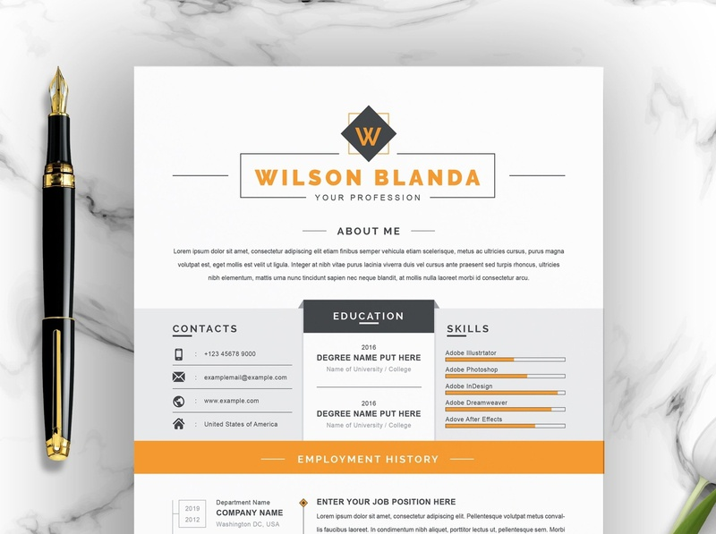 Clean Resume / CV Template with MS Word Cover Letter free download curriculum vitae template clean resume creative resume professional modern resume cv template modern resume resume template