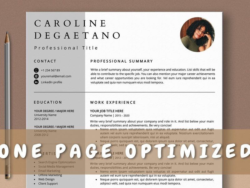 Optimized One Page Resume Template, 1 Page CV Template download templates resume cv one page cv curriculum vitae template clean resume creative resume professional modern resume cv template modern resume resume template