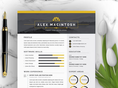 Resume Template 4 Page | CV Template curriculum vitae template modern cover letter job resume job simple resume clean resume minimal resume resume design cv design cv template cv pages page resume template resume