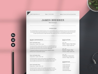 Resume/CV Word free download word minimal resume curriculum vitae template clean resume creative resume professional modern resume cv template modern resume resume template