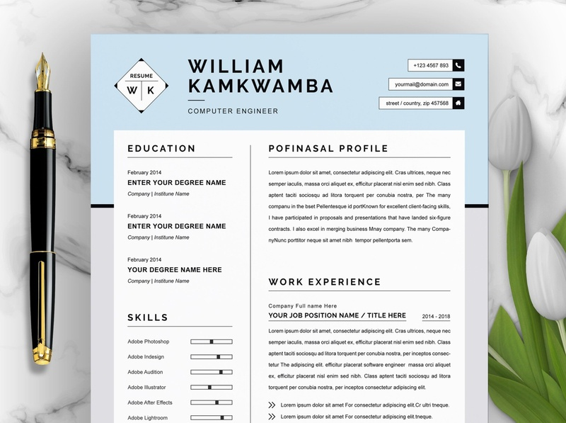 Modern Resume Template for Word, Apple Pages free download cv curriculum vitae template clean resume creative resume professional modern resume cv template modern resume resume template