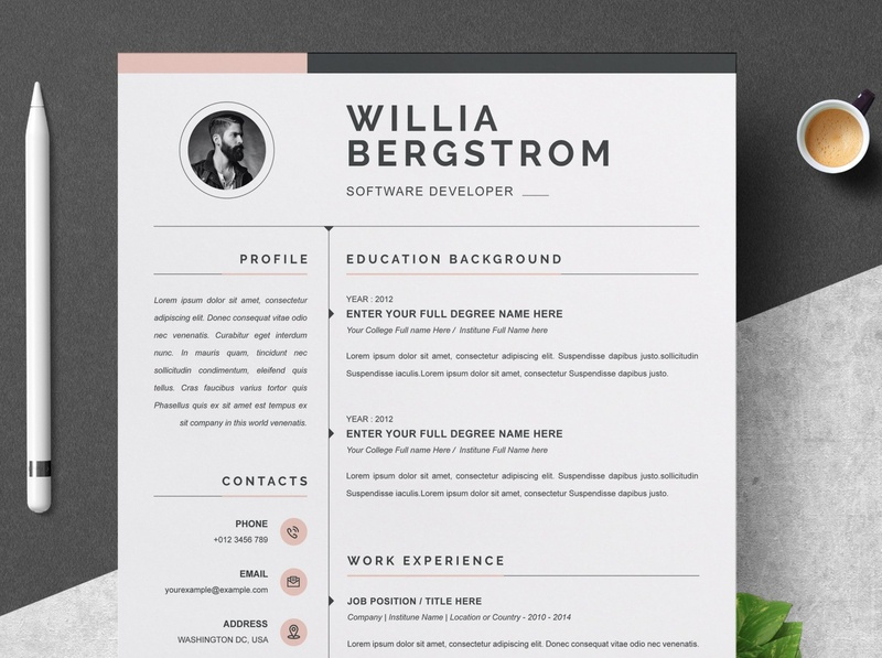 Resume Template 4 Page   CV Template download mockup free download curriculum vitae template clean resume creative resume professional modern resume cv template modern resume resume template