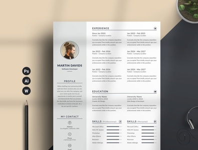 Resume/CV Word free download resume design cv curriculum vitae template clean resume creative resume professional modern resume cv template modern resume resume template