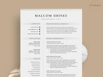 Resume/CV - The Shines download mockup resume clean resume design resume cv free download curriculum vitae template clean resume creative resume professional modern resume cv template modern resume resume template