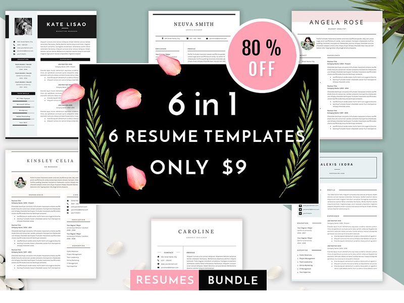 6 in 1 resume templates bundle vol 1 by resume templates