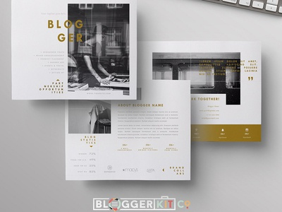 Blog Media Kit + Sponsorship | 5 Pgs branding social media kit blog kit brand kit blogger template fashion resume press kit media kit media kit template blog media kit word template