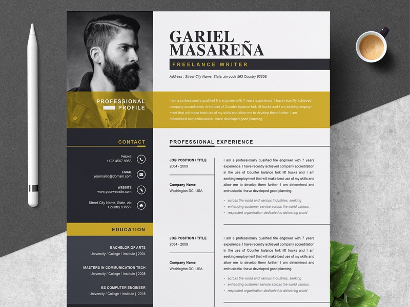 professional word resume cv template by resume templates on dribbble