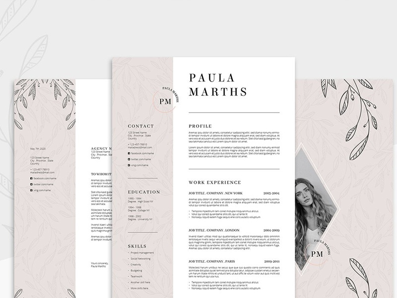 floral resume  cv   cover letter by resume templates