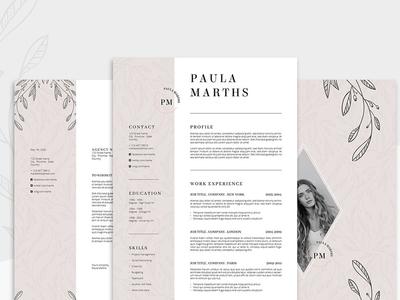 FLORAL Resume/CV + Cover Letter pink flower original psd ilustrator modern cv template cover job cv template resume
