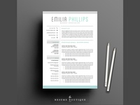 Resume Template 4 page pack | Aqua