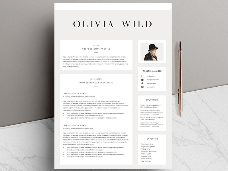 5 Page Resume Template Ultra Chic By Resume Templates Dribbble