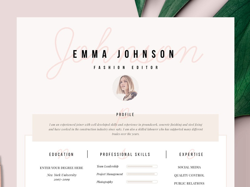 Resume Template 1 Page Paris Ii By Resume Templates On