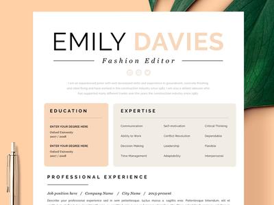 "Resume Template 1 page | ""Davies"" curriculum vitae doc creative resume ui illustration design logo professional resume cv template modern resume resume template cv"