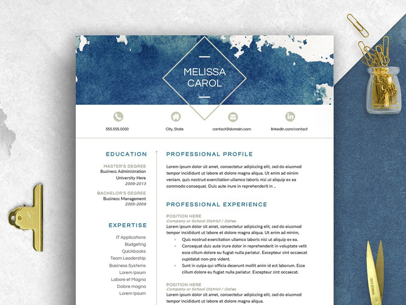 Modern Resume Template Word Design Minimal Doc Curriculum Vitae Professional A4 Creative