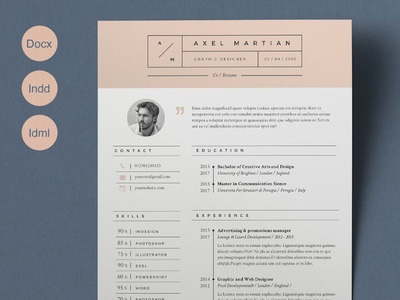 Resume Axel (2 pages) clean resume doc curriculum vitae template a4 professional modern creative resume resume cv template modern resume resume template cv