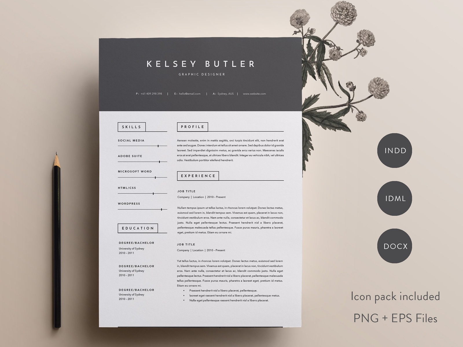 3 Page Resume Template Indd Docx By Resume Templates Dribbble