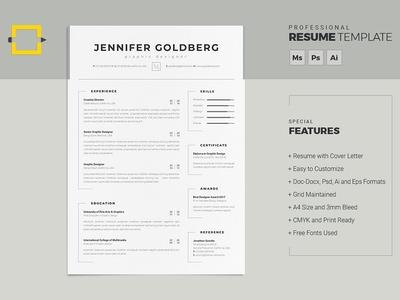 Resume professional resume minimal resume clean resume doc template curriculum vitae a4 professional modern creative resume resume cv template modern resume resume template cv