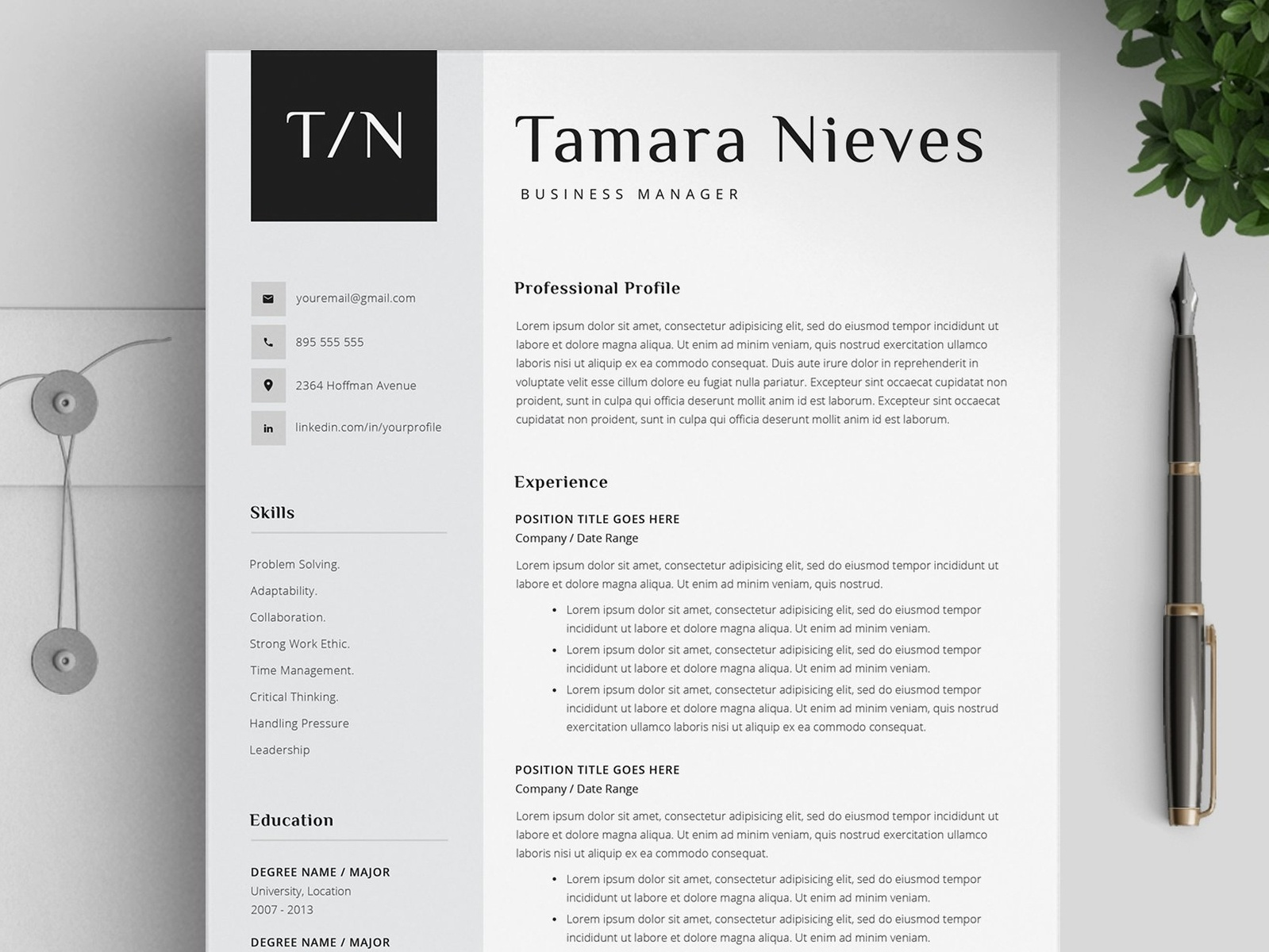 simple resume template    three pages by resume templates