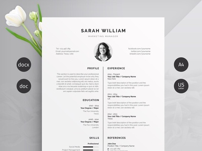 Resume/CV us letter word template design modern cv minimal professional resume minimal resume clean resume doc template curriculum vitae a4 professional modern creative resume resume cv template modern resume resume template cv