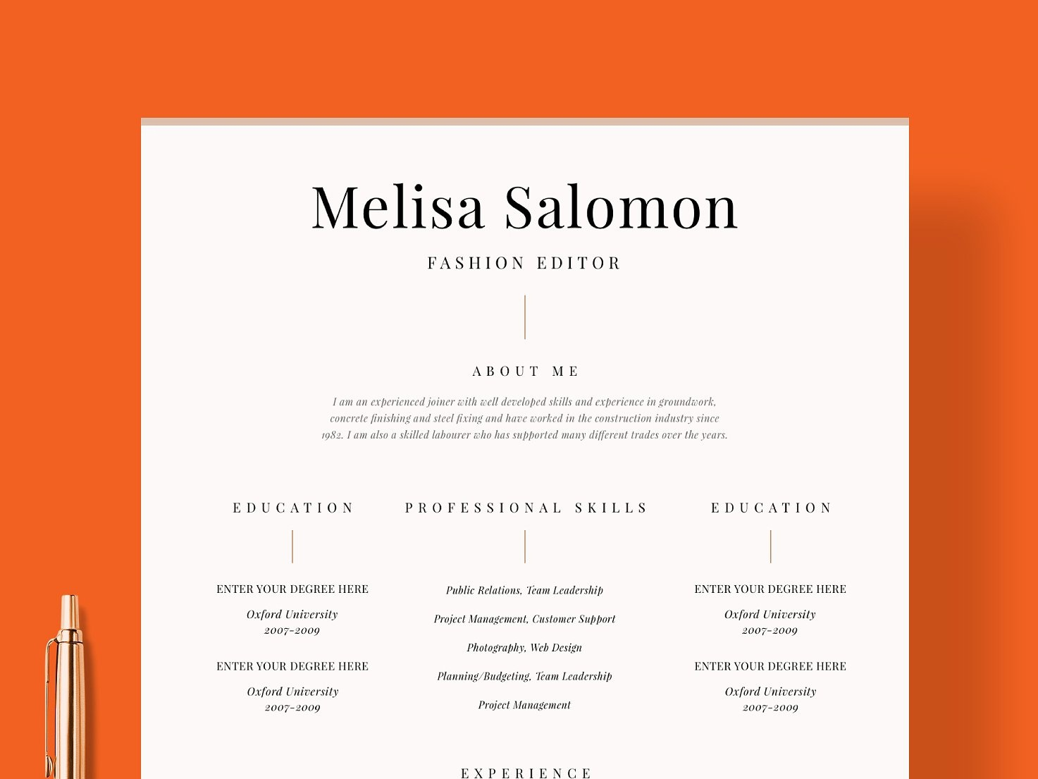 Resume Template 1 Page Venice By Resume Templates On