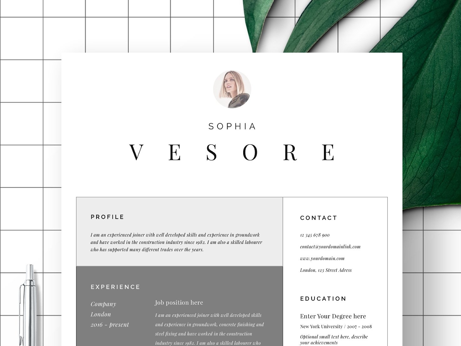 Resume Template 1 Page Bordeaux By Resume Templates On Dribbble