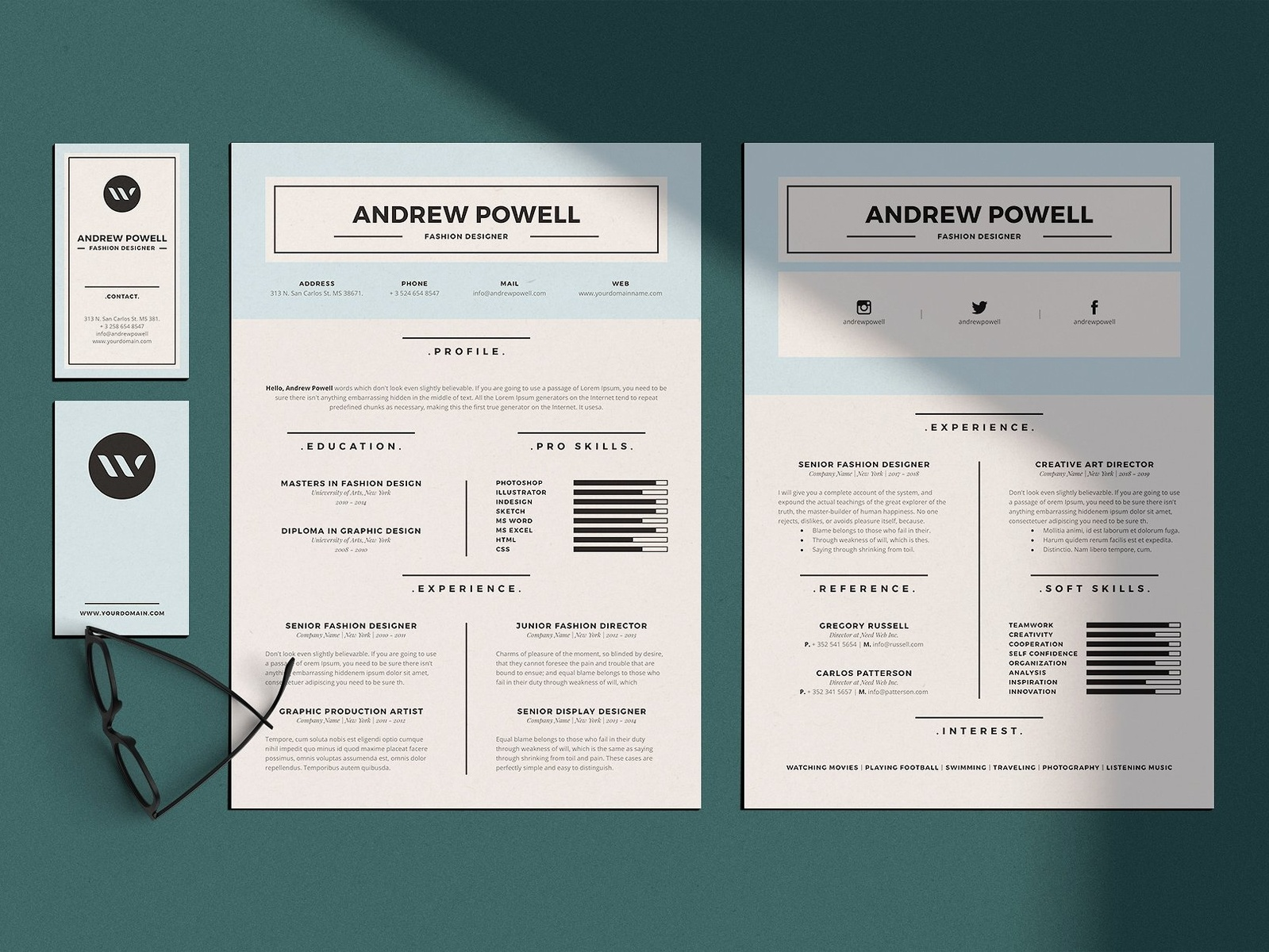 clean resume with business card by resume templates dribbble