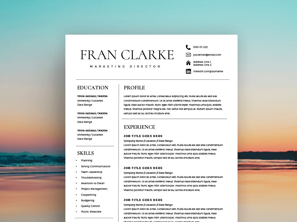 Creative Resume Template For Word By Resume Templates Dribbble