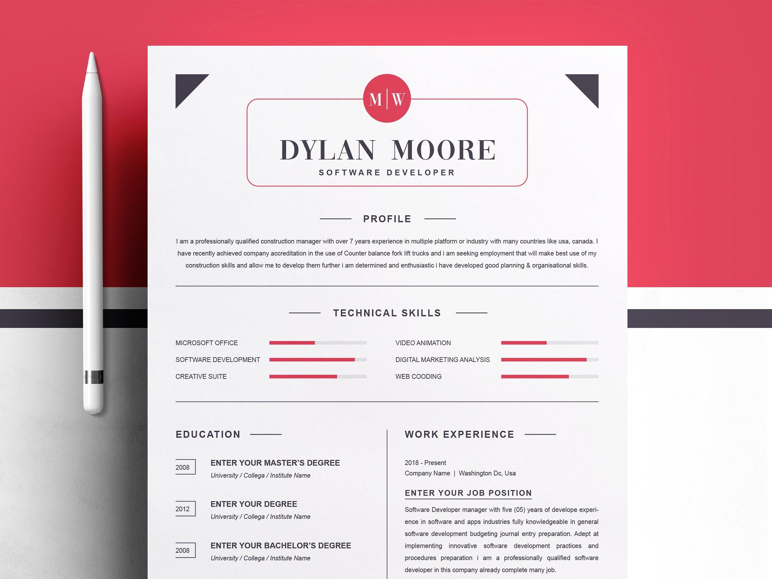 Dribbble 01 Modern Resume Template Cv Template Cover Letter