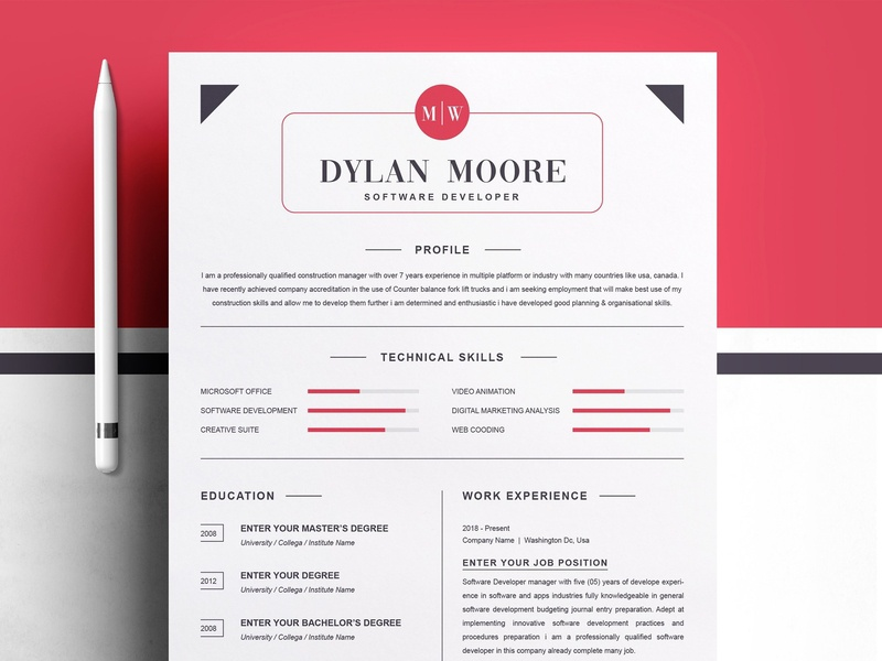 modern and clean resume template by resume templates dribbble