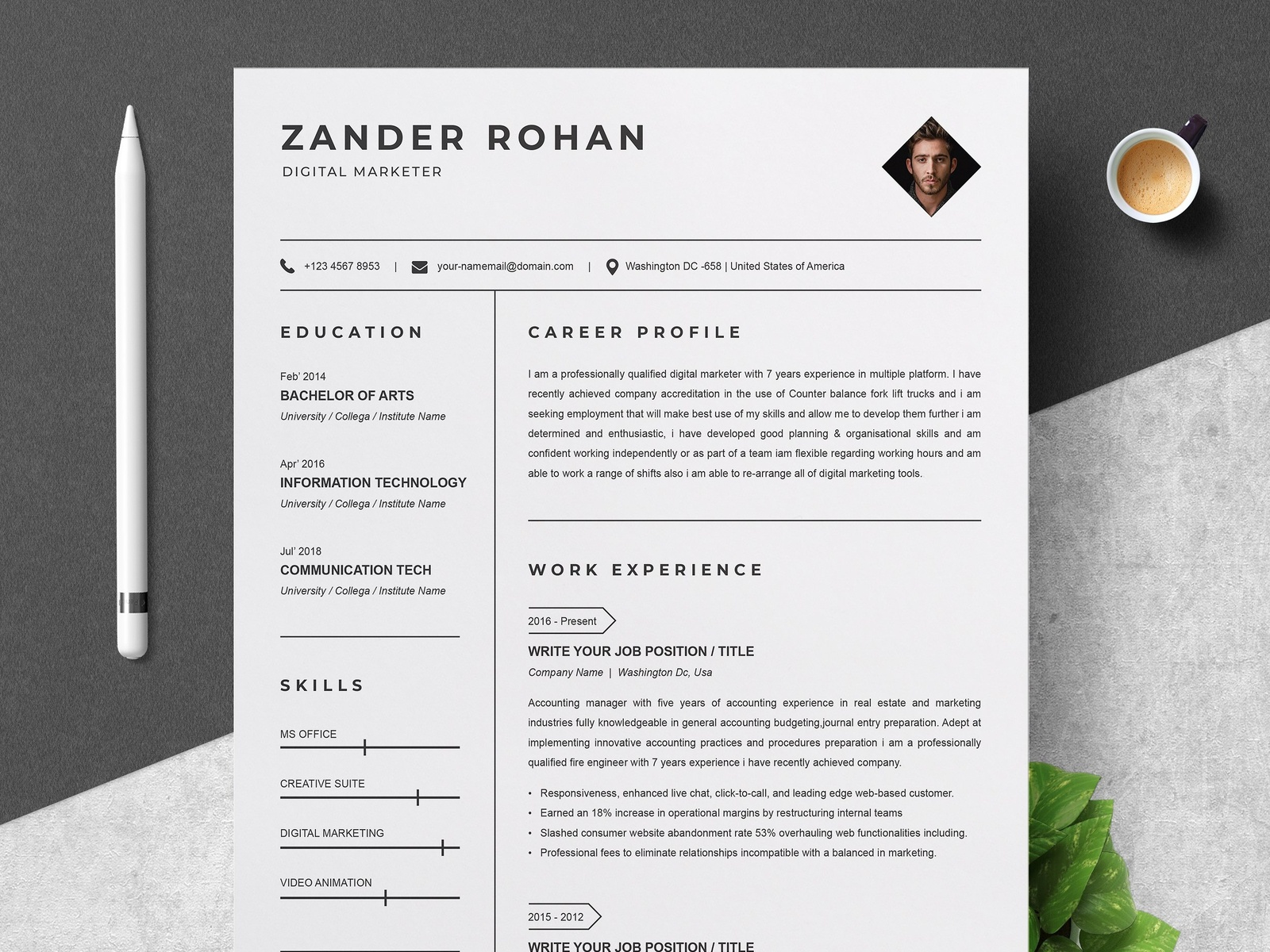 clean resume template by resume templates on dribbble