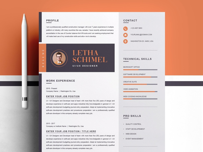 modern clean resume cv template by resume templates dribbble