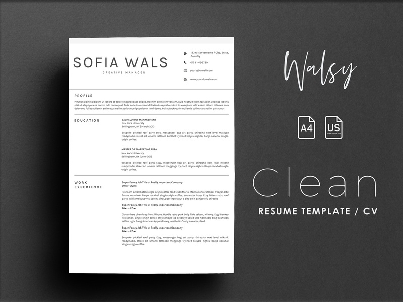 Resume template + Cover letter by Resume Templates | Dribbble | Dribbble