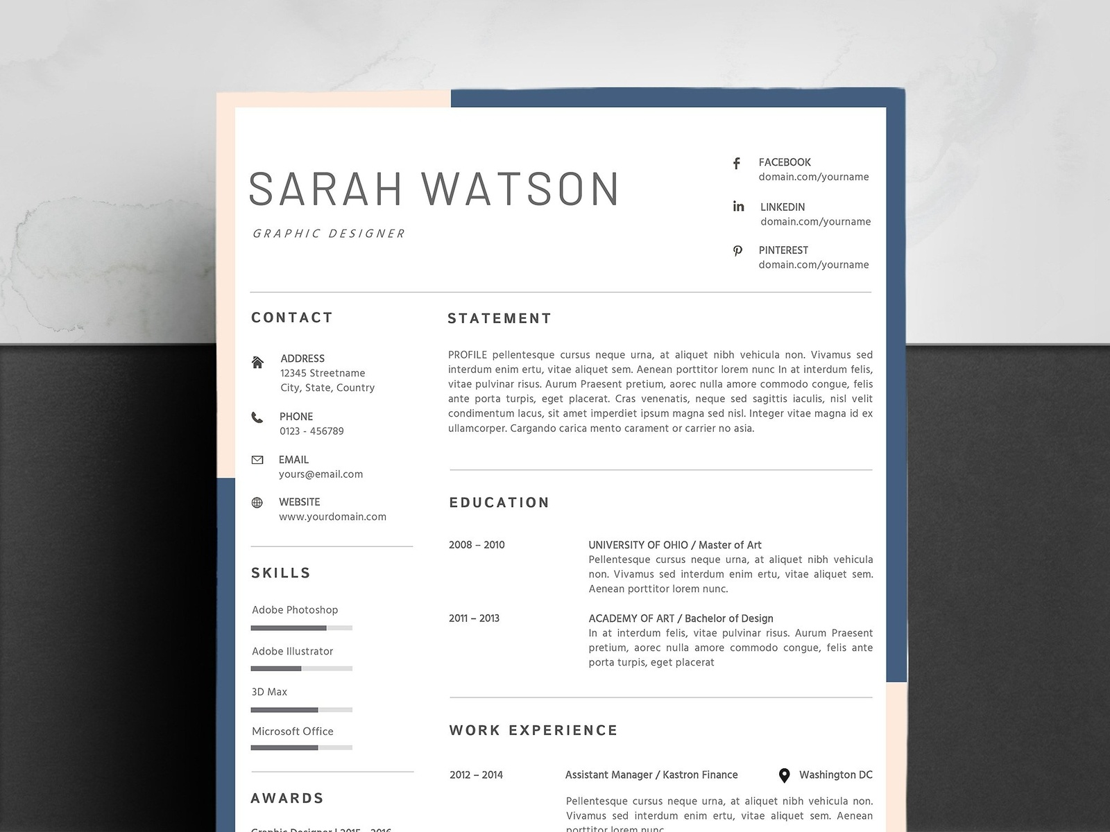 Ms Word Resume Template By Resume Templates Dribbble
